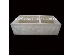 白色 浮雕 雕花/供应洗菜盆,双格洗菜盆,雕花水槽,浮雕水钵,白色洗菜盆