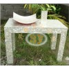 供应贝壳装饰台,白色石桌雕刻,室内摆件装饰,升耀装饰