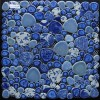 供应高档卵石装饰,艺术卵石拼花板,蓝色仿陶瓷卵石拼花