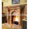 石雕欧式壁炉 晚霞红雕刻西方人物天使罗马柱壁炉