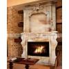 石雕欧式壁炉 晚霞红大型人物雕刻动物雕刻别墅客厅双层壁炉