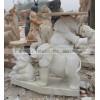 大理石汉白玉石雕大象 三只小象精美造型石雕
