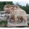 晚霞红喷水洗澡石雕大象 各种造型大象石雕