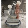 大理石拼色喷泉 曲阳石雕人物喷泉 男孩女孩造型喷泉雕刻供应