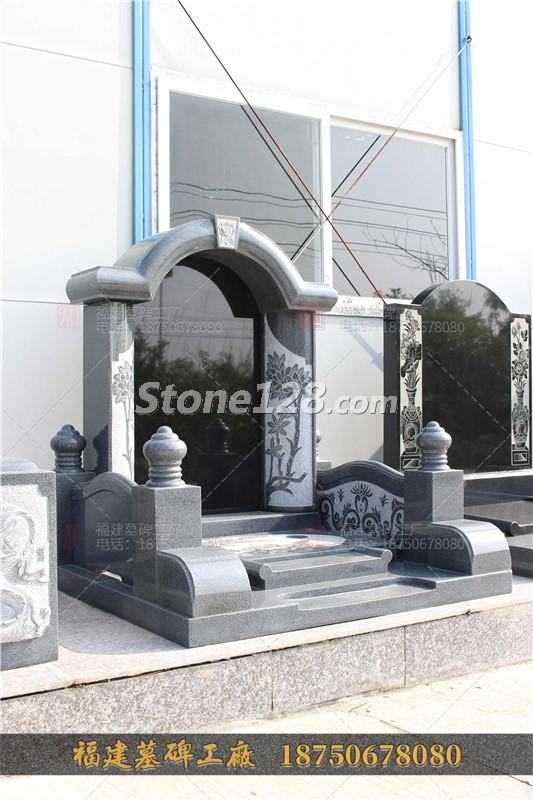 芝麻黑墓碑,豪华双人墓碑,家族式墓碑